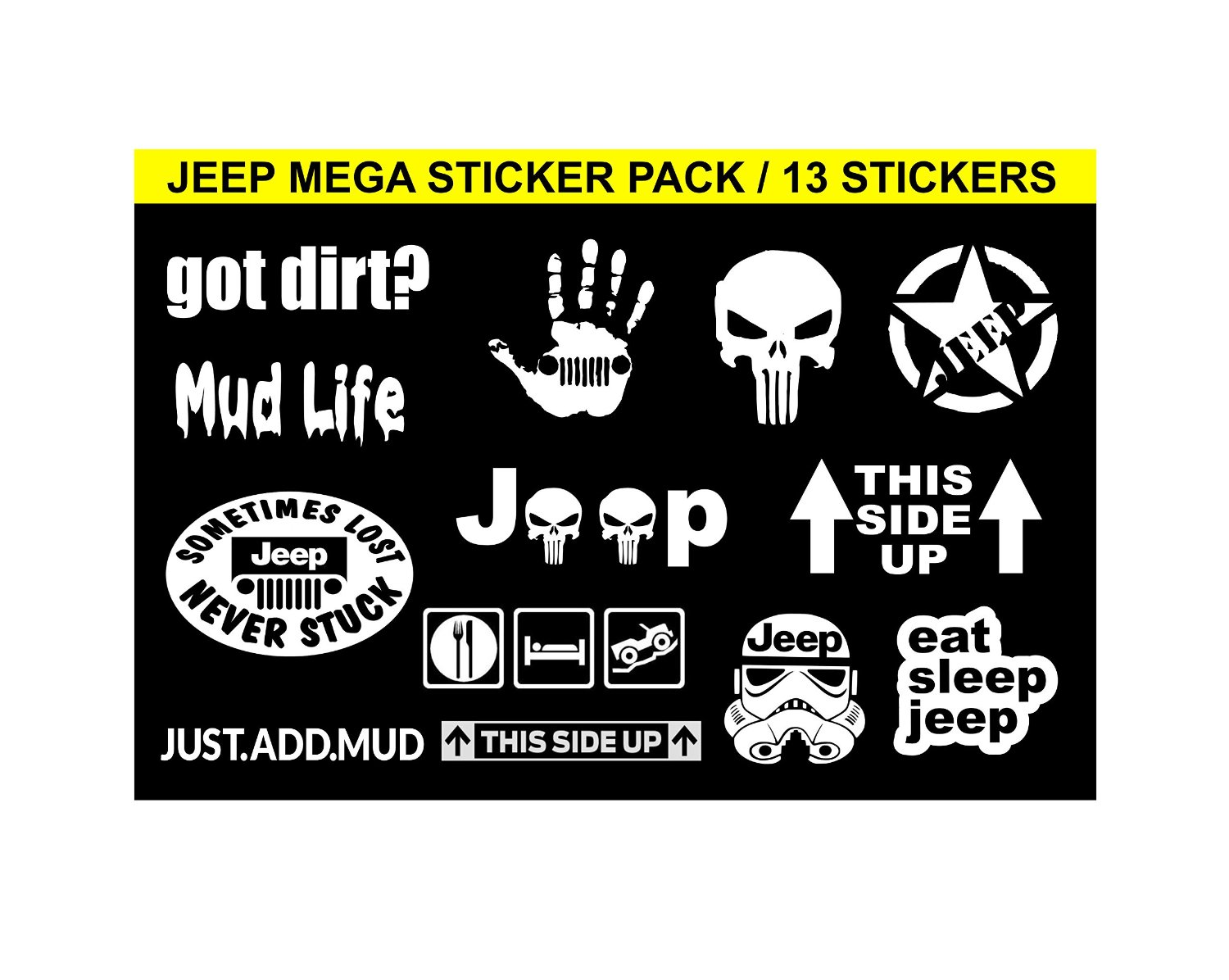 Get quotations · jeep mega sticker pack white you get 13 stickers jeep wave