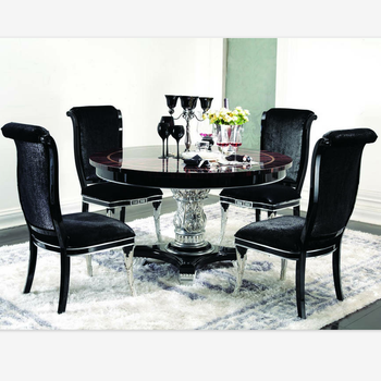 Round Dining Table With Rotating Centre Black Table With