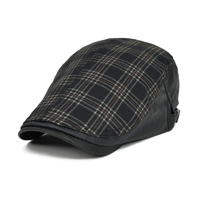 7218bee8f8b Get Quotations · VOBOOM Men s Cotton Flat Cap Plaid Ivy Gatsby Newsboy  Cabbie Driving Hat Cap 026