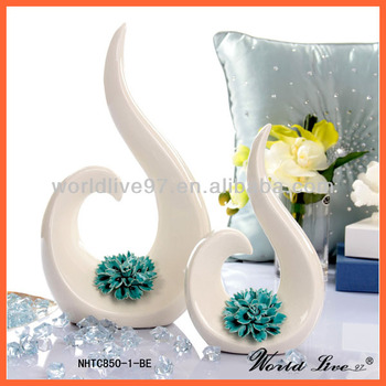 Nhtc850 1 2 Be White And Blue Hand Made Flower Ceramic Home