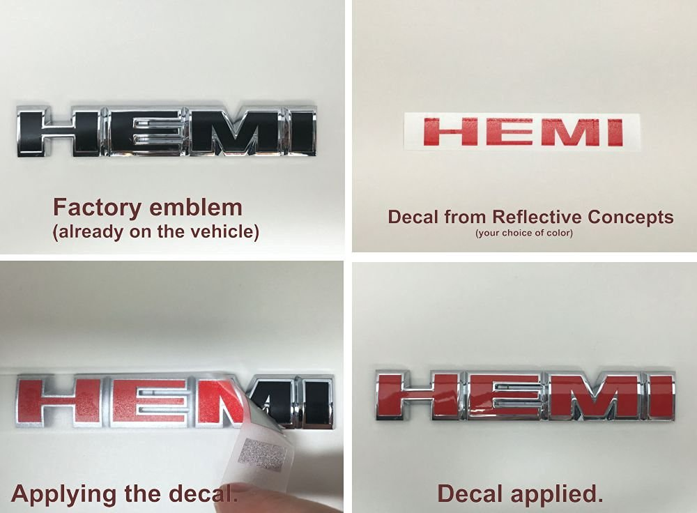 Buy Engine Cover HEMI Lettering Overlay Decals (set of 2
