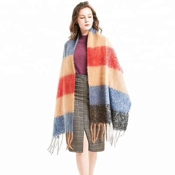 wholesale new style fashion winter shawl and wraps women plaid cashmere wool scarf