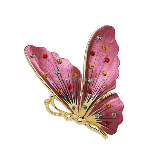Wholesale Cheap Bridal Wedding Enamel And Crystal Butterfly Brooch Pin
