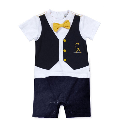 2015 new baby boys clothes gentleman vest Rompers climbing clothes jumpsuits newborn baby rompers short sleeve clothing