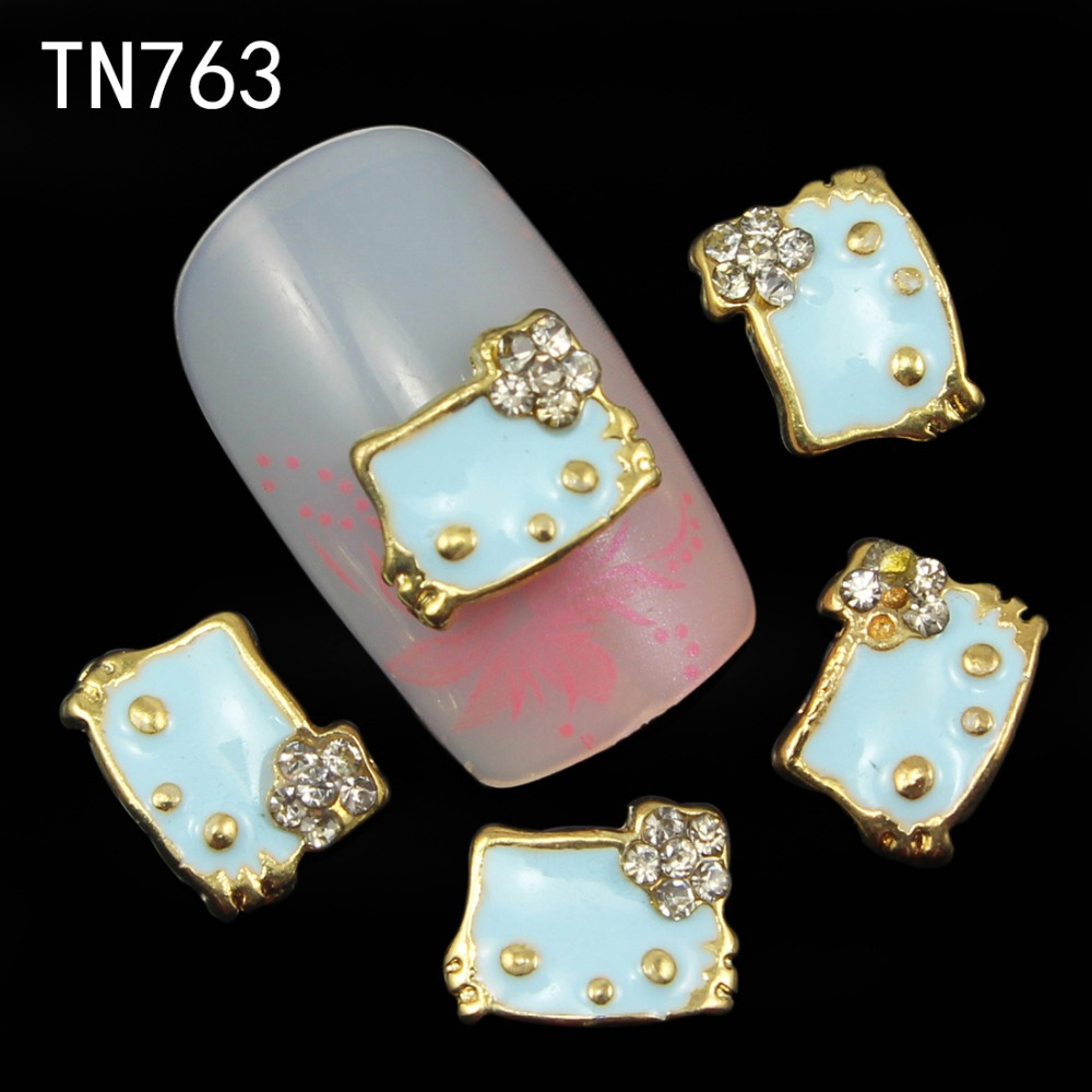 10pcs Glitter Kitty cat Rhinestones 3d Nail Art Decorations Alloy Nail Sticker Charms Jewelry for Nail