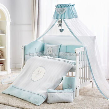 Lovely French Style Blue Rabbit Linen And Cotten Nursery Bedding Set For Baby Crib Bf12