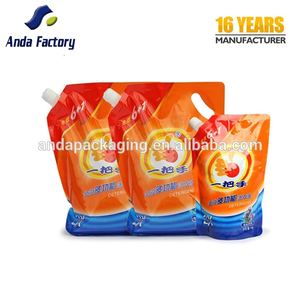 Custom food packaging ketchup doypack spout pouch/doypack bags for liquid detergent