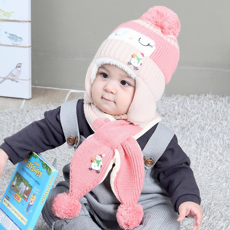 0868082e327af0 Fashion Design Plush Knit Hat Ear Protect Hat Scarf Two Piece Baby ...