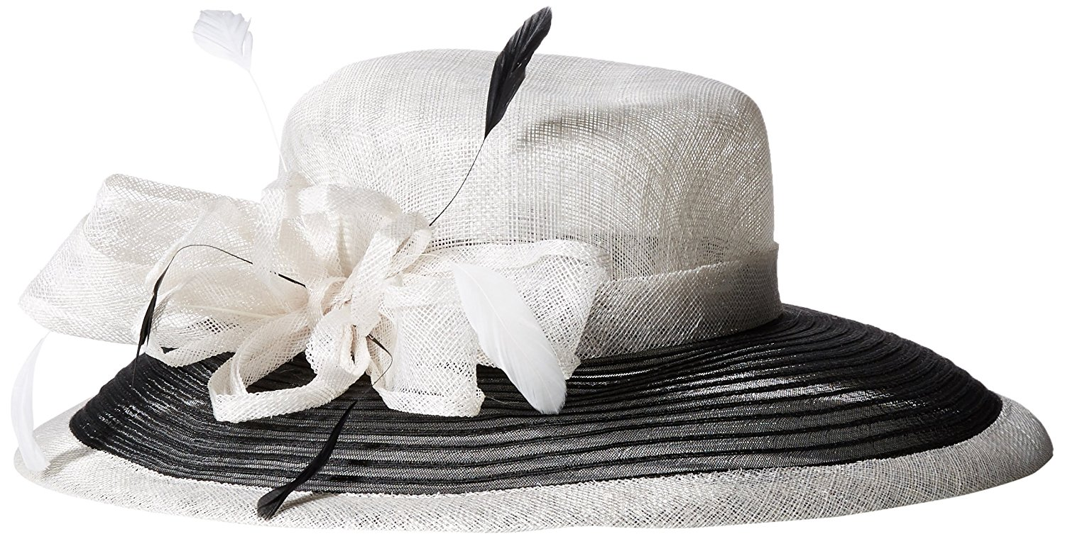 6d3d7177bc7 San Diego Hat Company Women s Color Block Dress Hat with Bow and Feathers