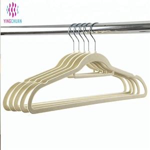 Strong durable plastic clothes velvet hanger
