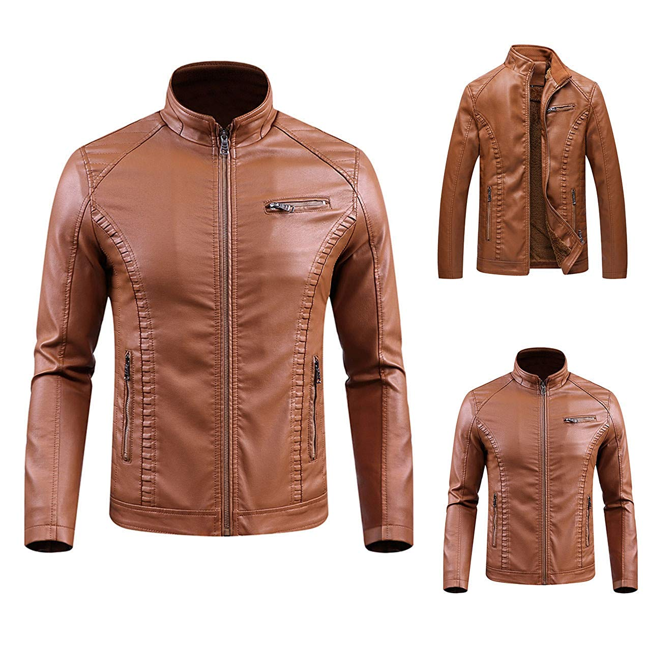 Mens Leather Jacket,Casual Zipper Bomber Jacket Slim Fit Outwear Trench Flight Coat Zulmaliu