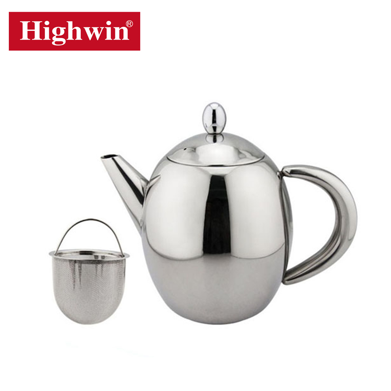 Highwin top selling single wall stainless steel easy use teapot with 304 infuser with filter