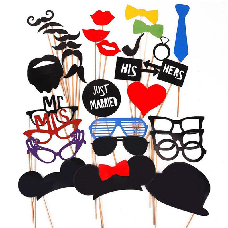 Wholesale Christmas Party Supplies Funny Creative Wedding Red Lips Paper Moustache Photo Props