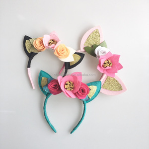 Hot Sale Popular Colorful Cute Cat Ear Hair Band Baby Headband Girls For Kids