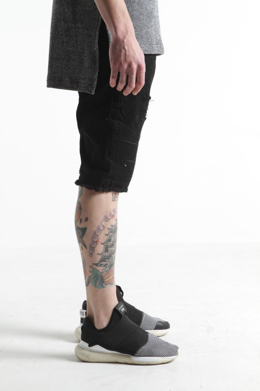 Oem高品質黒男デザイナーデニムバイカー無印デニムショート安いジーンズショーツ男性サイズ