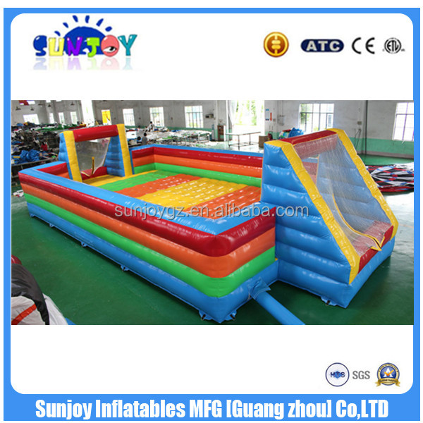 New Rainbow Inflatable Football Field / Inflatable Water Soccer Field /Soap Soccer Field For Sale