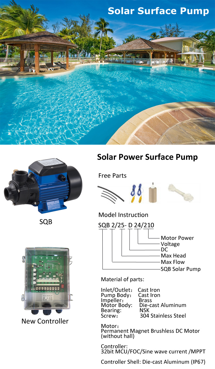 dc 72v solar powered surface pump irrigation water booster