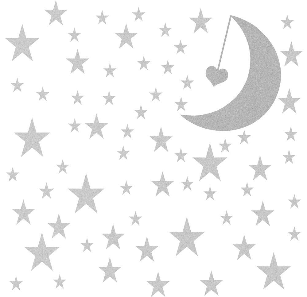 Easma Stars Wall Decals (162Stars+1Moon+1Heart) Peel and Stick Removable Metallic Vinyl Wall Decals For Nursery Bedroom Home Decor-Silver