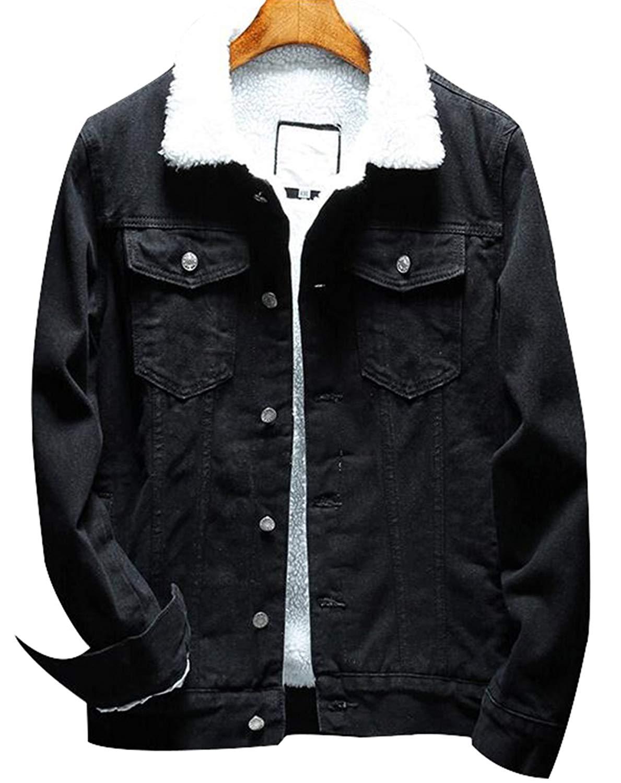 76cd4717b16bf Get Quotations · Denim Jackets Trendy XU Winter Fashion Black Faux Fur Jean  Coat Wool Collar