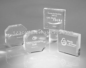 Customized clear Lucite paperweight block