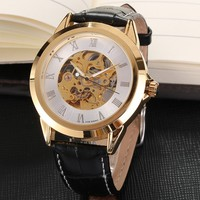 Forsinning watches Male clock relogio black leather strap band automatic mechanical men dress casual watch