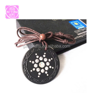 Anion Lava Rock Energy Pendant with crystal stone