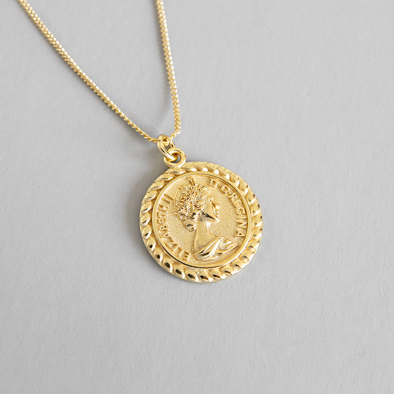 Elizabeth 925 sterling silver gold coin pendant adjustable necklace