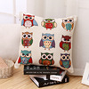 Directly Sale Owl Yarn-dyed Fabric Cushion Cover For Coffee Shop
