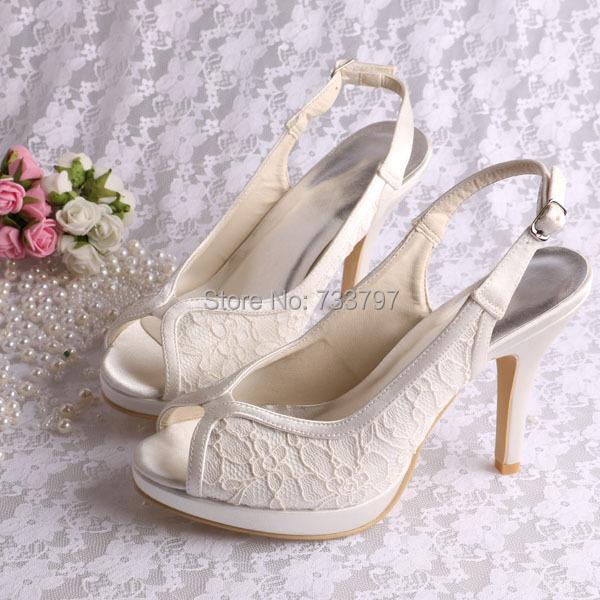 Ivory Lace Slingback Shoes