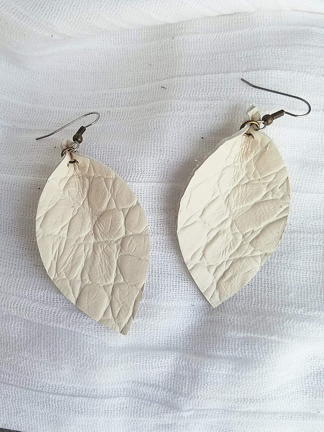 """Antique White/Textured/Leather Earrings/FREE SHIPPING/Joanna Gaines/Zia/Statement/Medium/Large/3.5""""x1.25""""/Hypoallergenic"""