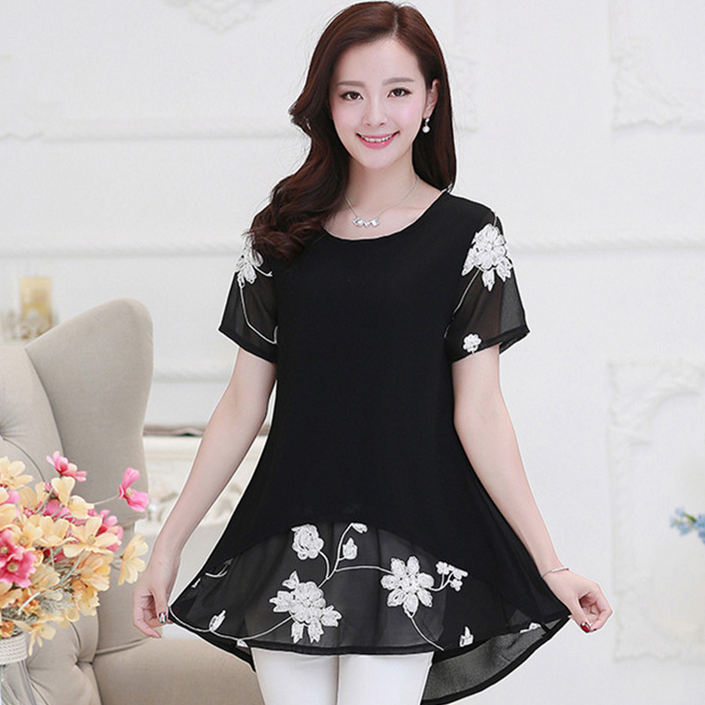 W11002G 2016 summer new design Korean big size short sleeve loose medium style chiffon blouse women clothing