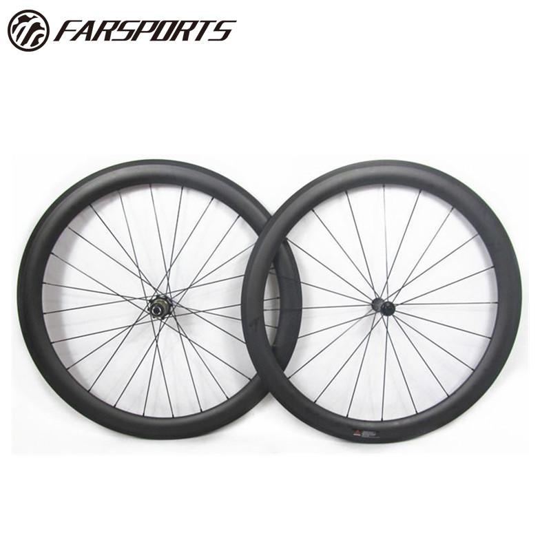 Superlight carbon tubular wheelsets 50mm 25mm for road bike 700C full carbon toray from Farsports China Sapim aero spokes