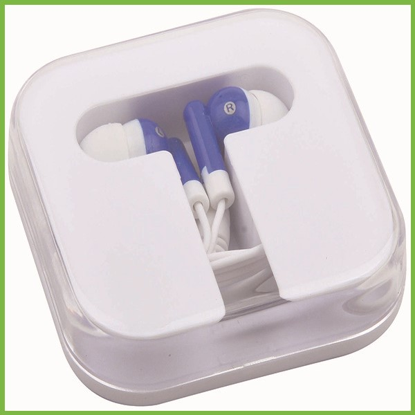 Promotional Earbuds in Square Case <strong>Sample</strong> with Label