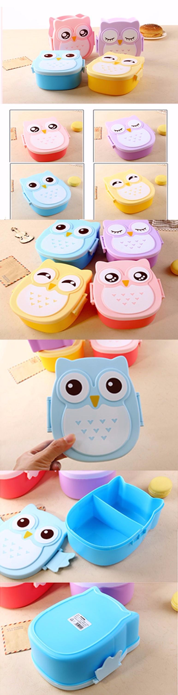 2018 Kartun Burung Hantu Lucu Mudah Dibuka Kotak Bento Makan Siang Kotak Microwave Peralatan Makan Kotak Makan Untuk Anak Anak Orang Dewasa Buy