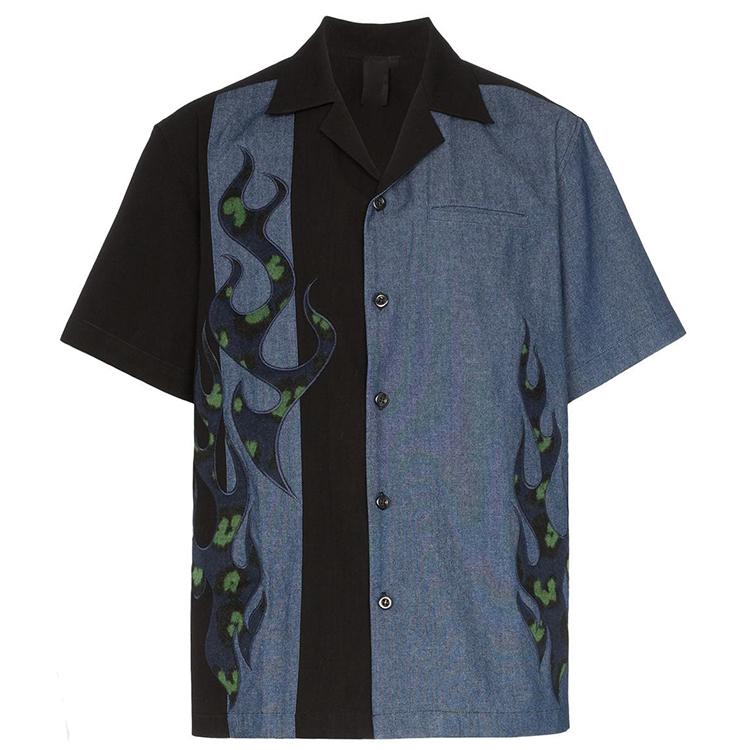 Custom fashion comfortable short sleeve color matching turn-down collar fashion men shirt фото
