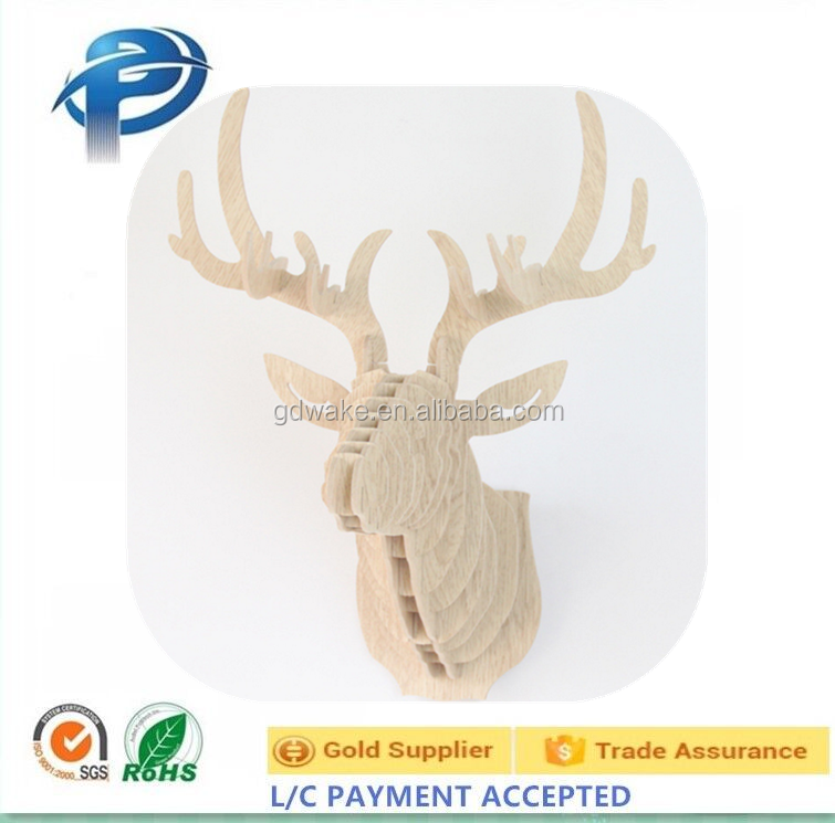 Deer Head Wall Decoration,Wooden Animal Carving Hanging Ornament