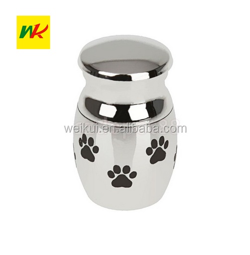 "Mini Cremation Urn for Pet Ashes Jewelry ""Always in my heart"" Dog Paw Stainless Steel Memorial Keepsake"