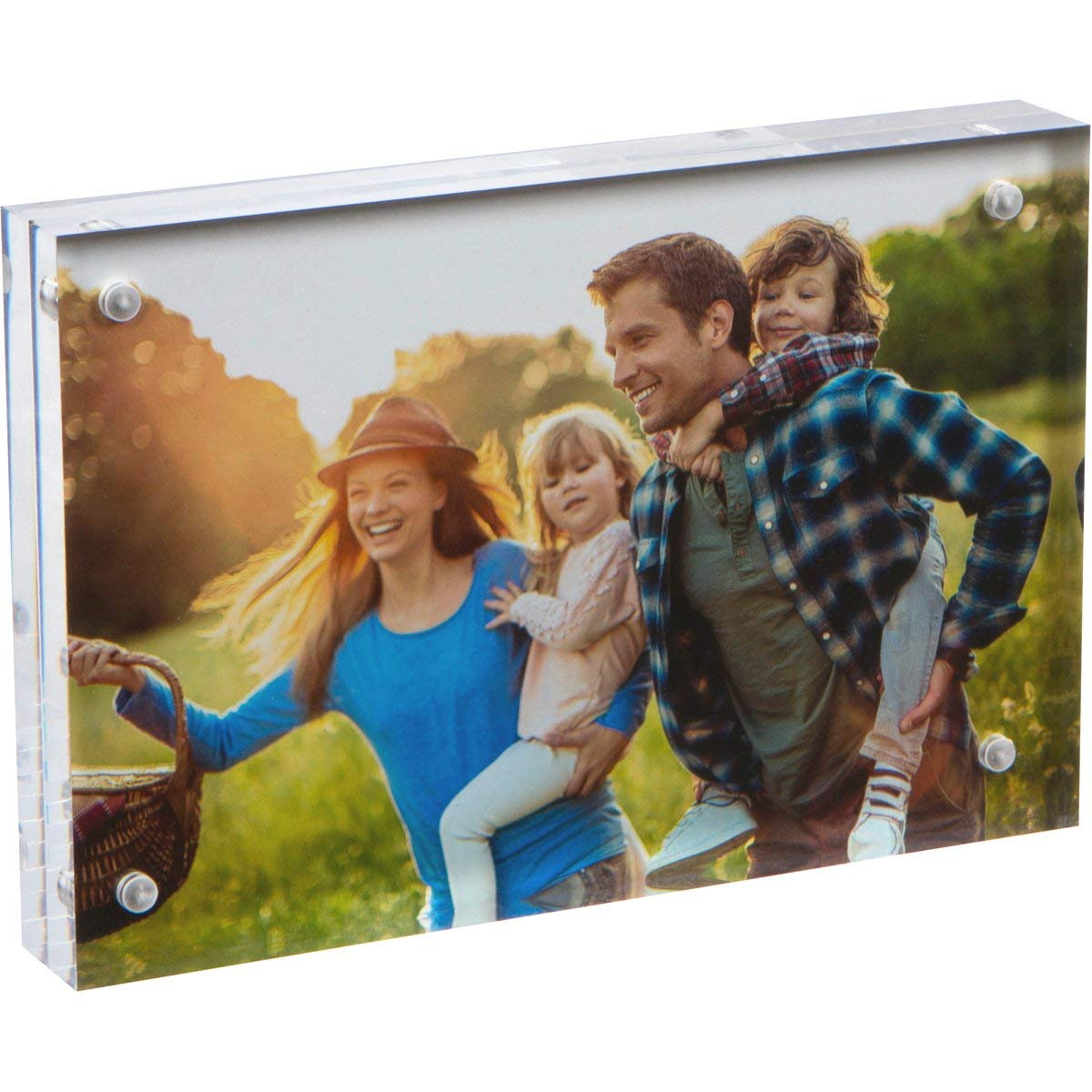 "SimbaLux Magnetic Acrylic Picture Photo Frame 4x6 inches, Clear Glass Like, Double Sided Frameless Desktop Floating Display, Free Standing, Easy Change, for Family, Postcards, 4"" by 6"", 2cm Thick"