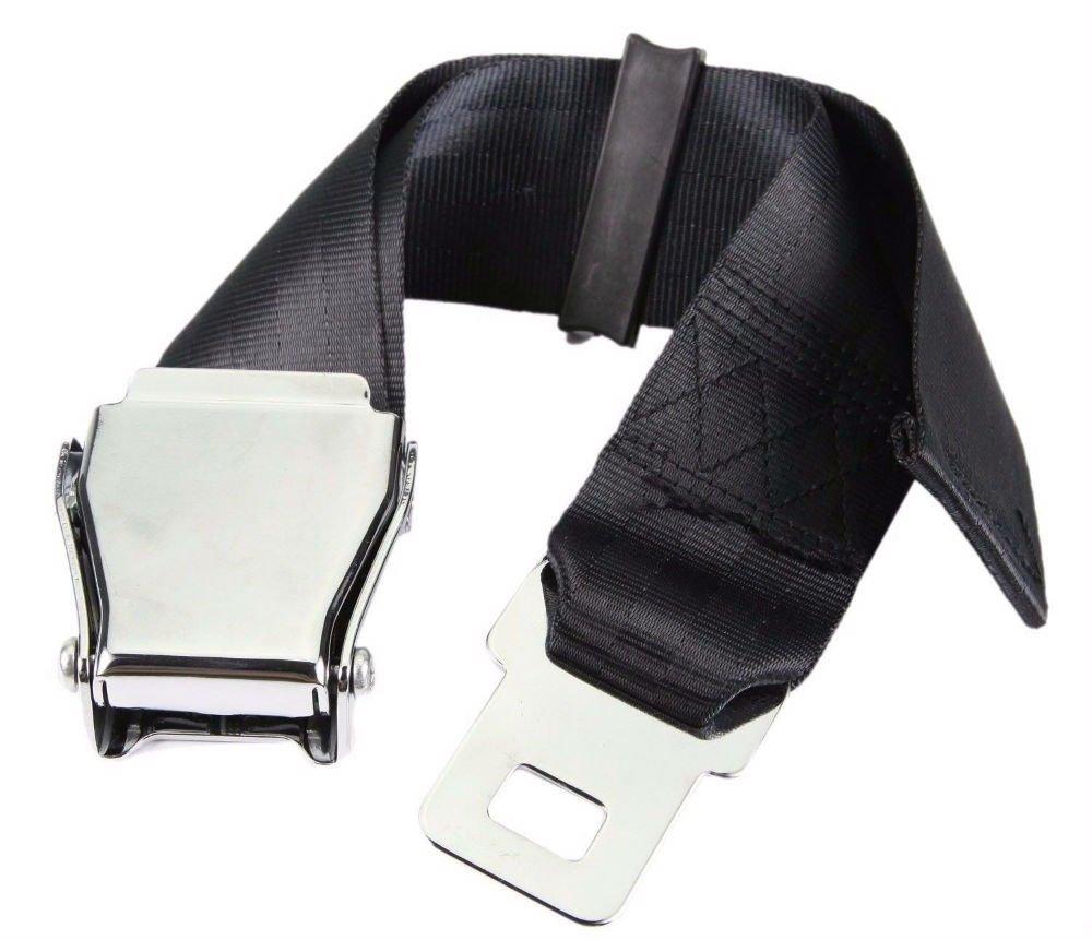 Universal 25-80cm Airplane Seat Belt Extender-Aircraft Buckle Tough Simple Black