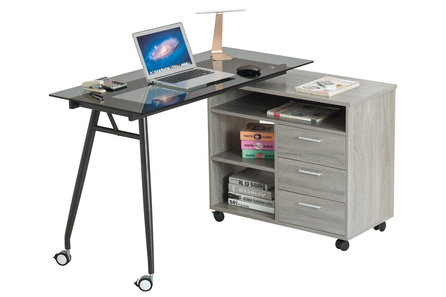 ProHT L-Shaped Office Writing Computer Desk with Drawers and Wheels. Modern Swivel Corner Desk/PC/Laptop/Table/Workstation Black Glass Desk w/ Big Storage.CARB Certified.Gray.(05021A)