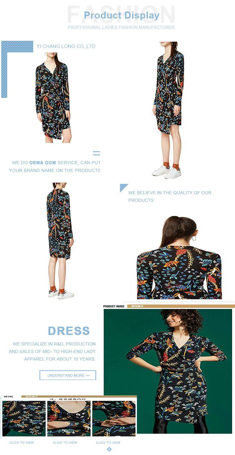 viscose fabric knee length pencil long floral dress outfit with sleeves