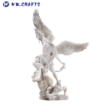 St. Michael the Archangel Angel Statue Polyresin White Angel Sculpture Figurine Custom Wholesale