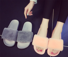 Multi-color optional fur slippers for women