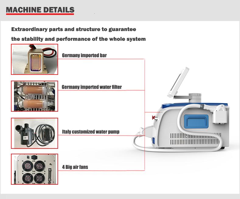 epilator profissional da remoção do cabelo do laser da máquina 808nm da remoção do cabelo