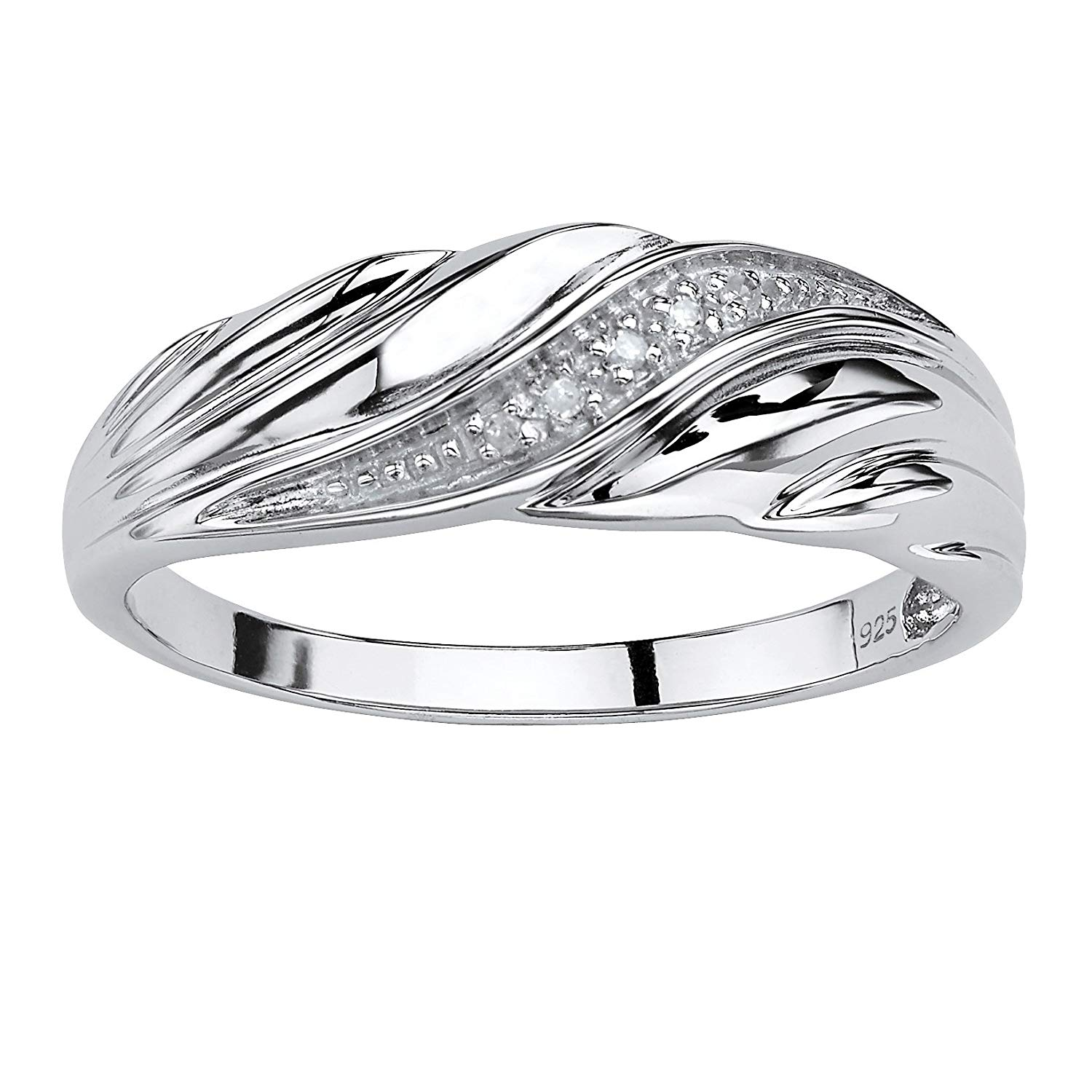 Men's White Diamond Accent Platinum over .925 Sterling Silver Diagonal Wedding Band