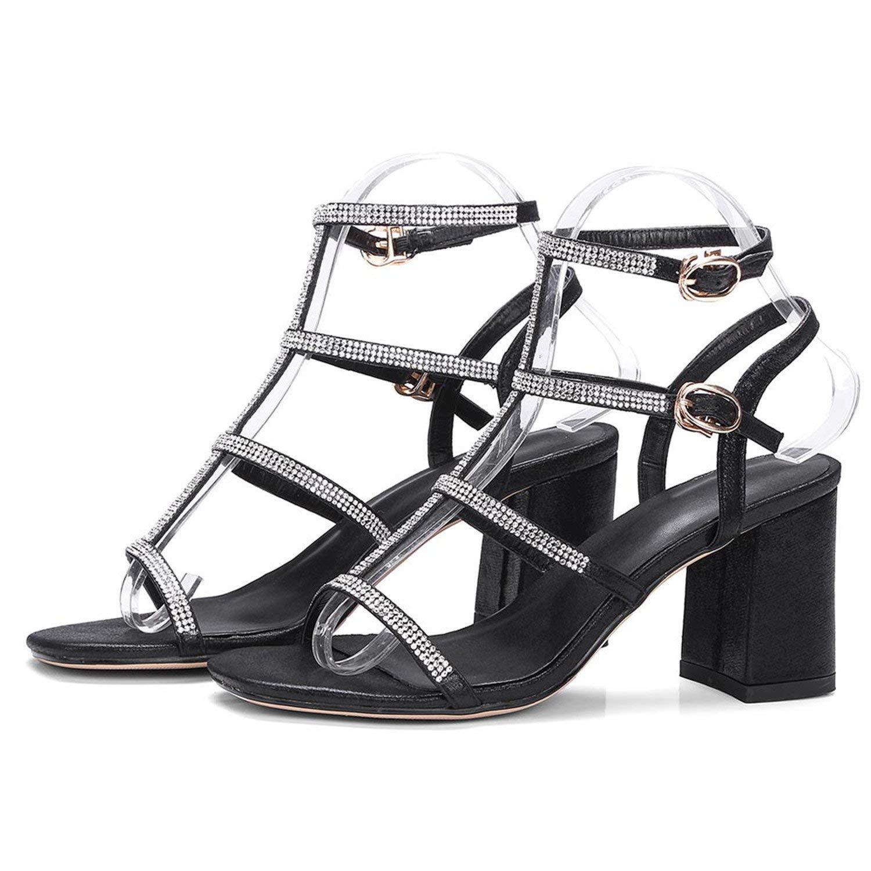 c29f9d6eca56 Get Quotations · Twinkle UU High Heel Stilettos Summer Peep Toe Sandals  Black Silver Bridesmaid Bridal Wedding Shoes B302