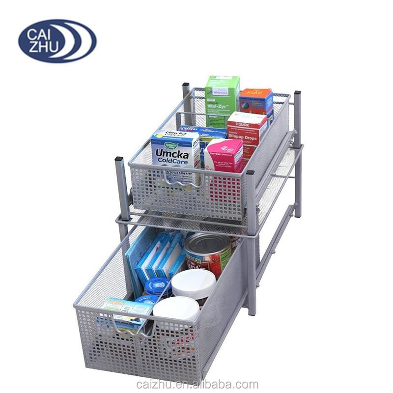 Kitchen Pantry Basket Under Sink Mesh Cabinet Organizer