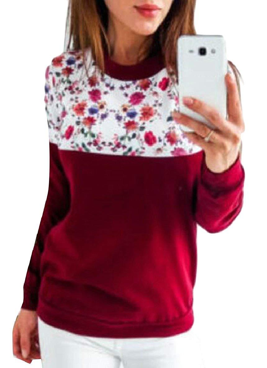 CBTLVSN Women Round Neck Long Sleeve Print Casual Sweatshirt Pullover Blouse