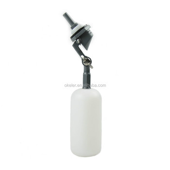 "Mini Plastic Float Valve, Tank Mount, Adjustable Arm, 1.5 gpm at 60psi 1/4"" Barbed"