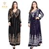 custom autumn spandex print maxi dresses long long sleeve modest ladies plus size dress